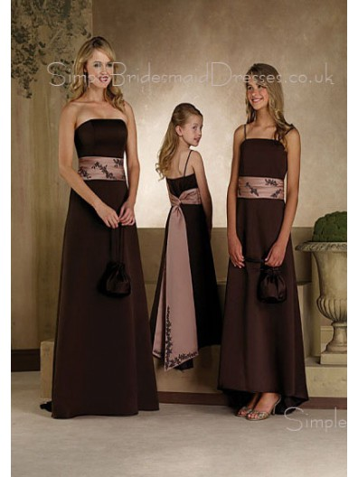 Natural A-line Floor-length Spaghetti-Straps Satin Bridesmaid Dress