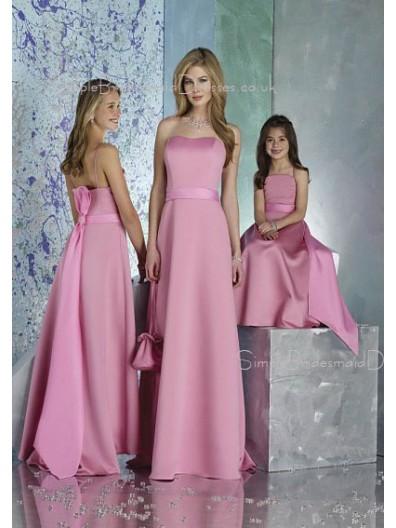 Pink Satin Zipper Natural Sash Bridesmaid Dress