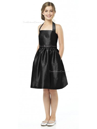 Halter A-line Satin Black Knee-length Junior Bridesmaid Dresses