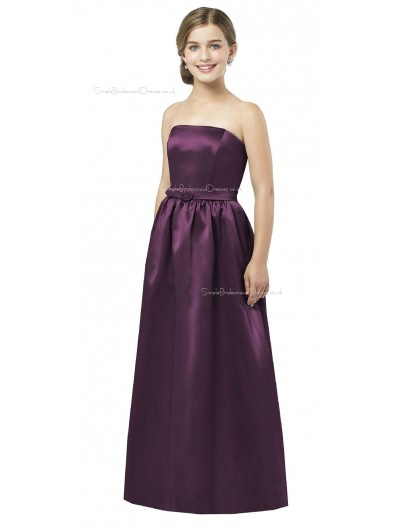 Grape A-line Floor-length Satin Spaghetti Junior Bridesmaid Dresses
