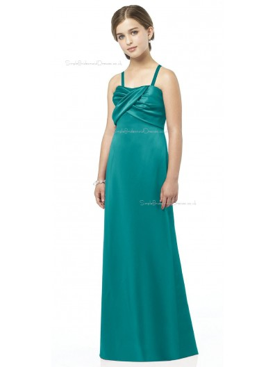 Floor-length Satin Spaghetti A-line Sweetheart Junior Bridesmaid Dresses