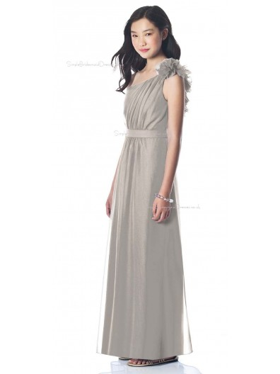 A-line One Floor-length Silver Shoulder Junior Bridesmaid Dresses