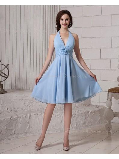 A-line Knee-length Sleeveless Light-Sky-Blue Natural Flowers/Ruffles Zipper Chiffon Halter Bridesmaid Dress