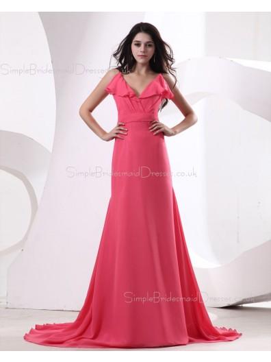 Ruffles/Draped Fuchisa Zipper Mermaid Floor-length V-neck Natural Sleeveless Chiffon Bridesmaid Dress