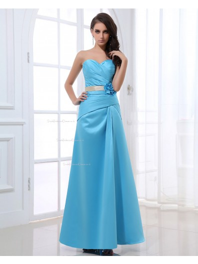 Satin Sweetheart Zipper Floor-length Blue A-line Sleeveless Ruffles/Flowers/Sash Natural Bridesmaid Dress