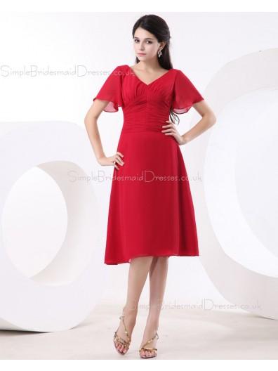 Zipper Red Empire A-line Floor-length Ruffles V-neck Chiffon Sleeveless Bridesmaid Dress