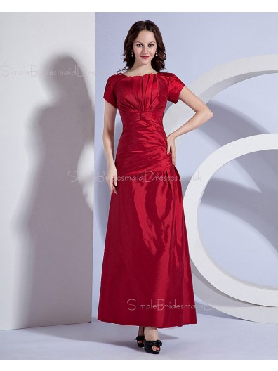 Zipper Brugundy Short-Sleeve Bateau A-line Ankle-length Ruffles Natural Taffeta Bridesmaid Dress