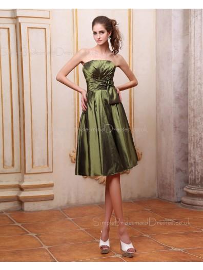 Natural Sleeveless Ruffles/Bow/Flowers Green Zipper A-line Taffeta Floor-length Strapless Bridesmaid Dress