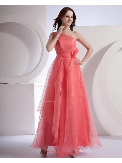 Organza Zipper Natural Floor-length A-line Tiered/Flowers Sleeveless One-Shoulder Watermelon Bridesmaid Dress