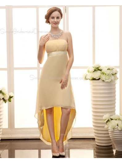 Zipper Daffodil A-line Chiffon Asymmetrical Sleeveless Ruffles/Sash Strapless Empire Bridesmaid Dress