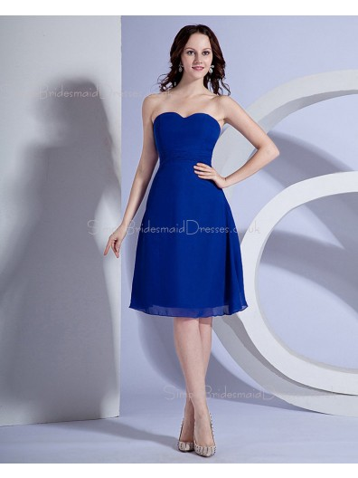 Royal-Blue A-line Chiffon Knee-length Sweetheart Natural Ruched/Sash Sleeveless Zipper Bridesmaid Dress
