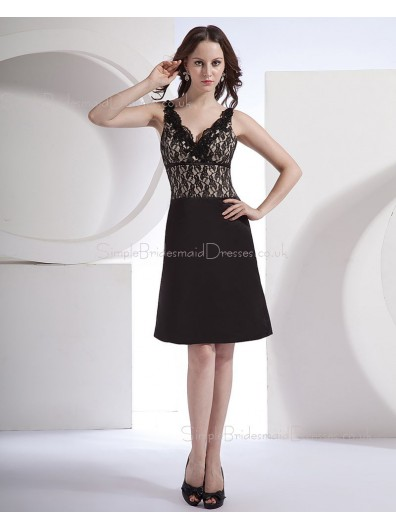 Satin A-line Black Zipper Floor-length V-neck Lace/Appliques Natural Sleeveless Bridesmaid Dress