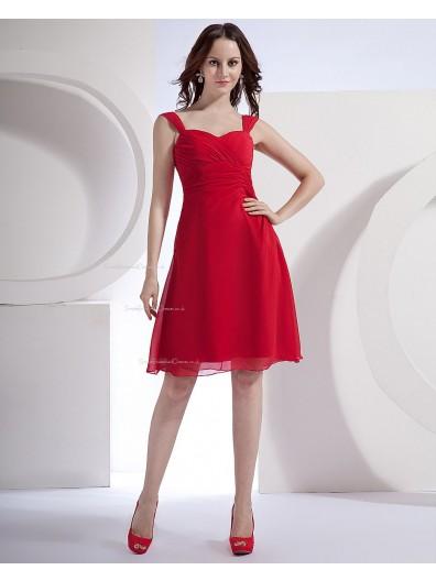 Ruffles Knee-length Chiffon A-line Straps Natural Zipper Red Sleeveless Bridesmaid Dress