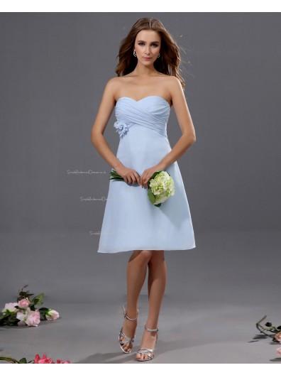Sleeveless A-line Chiffon Natural Sweetheart Ruffles/Flowers Knee-length Light-Sky-Blue Zipper Bridesmaid Dress