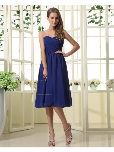 Knee-length Zipper A-line Natural Sleeveless Royal-Blue Sweetheart Chiffon Ruffles Bridesmaid Dress