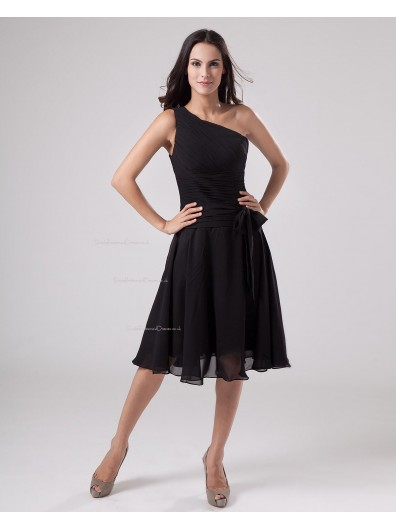 Ruffles/Sash A-line Sleeveless Knee-length Zipper Chiffon Natural Black One-Shoulder Bridesmaid Dress
