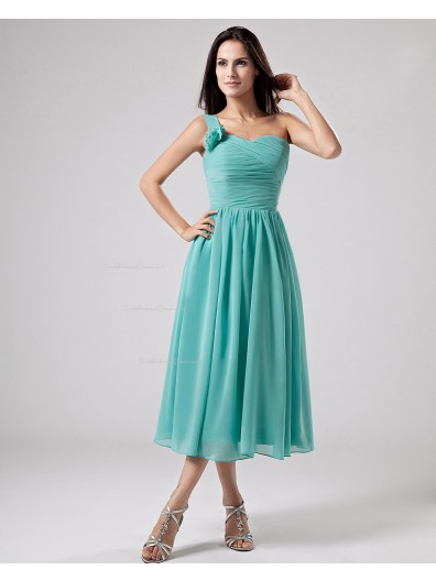 Zipper Natural One-Shoulder Ruffles/Flowers A-line Chiffon Pool Tea-length Sleeveless Bridesmaid Dress