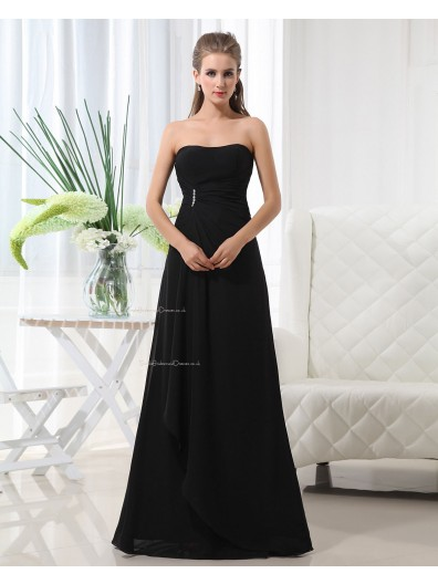 Sweetheart Floor-length Chiffon Natural Up Black A-line Lace Sleeveless Ruffles/Draped/Beading Bridesmaid Dress