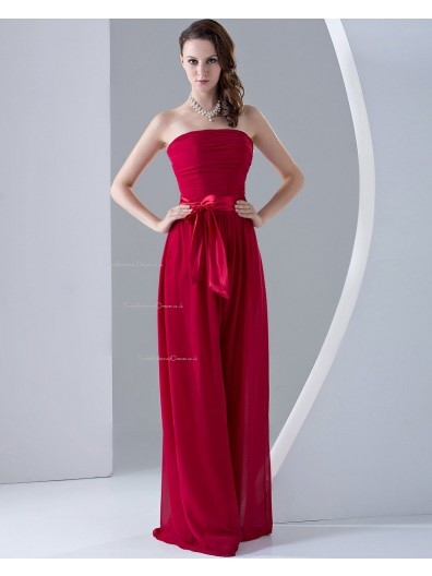 Natural Zipper Sleeveless A-line Ruffles/Sash/Bow Chiffon Strapless Burgundy Floor-length Bridesmaid Dress