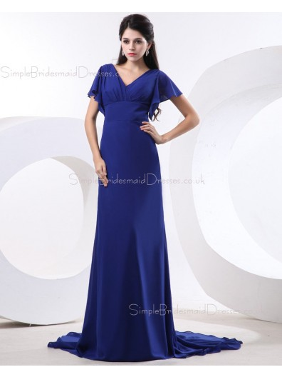 Natural A-line Short-Sleeve Royal-Blue V-neck Ruffles/Draped Chiffon Floor-length Zipper Bridesmaid Dress