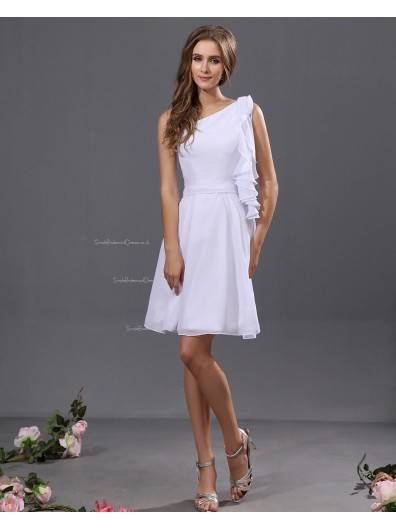 White One-Shoulder Short-length A-line Sleeveless Zipper Ruffles/Tiered Chiffon Natural Bridesmaid Dress