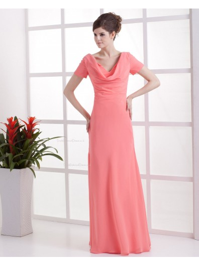 Short-Sleeve Zipper Natural Watermelon Ruffles Sheath Chiffon Floor-length V-neck Bridesmaid Dress