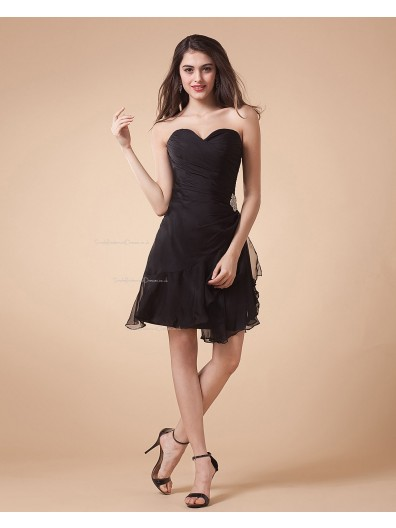 Ruffles/Tiered/Beading Short-length Sleeveless Natural A-line Sweetheart Chiffon Black Zipper Bridesmaid Dress