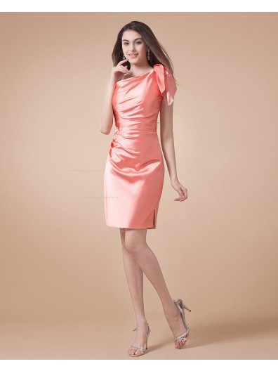 Watermelon A-line Elastic-Satin One-Shoulder Natural Ruffles Sleeveless Zipper Short-length Bridesmaid Dress
