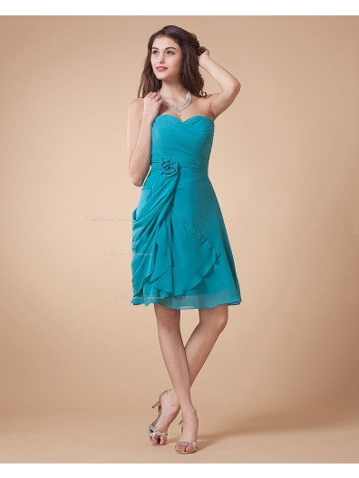 Sleeveless Floor-length Ruffles/Flowers Chiffon Blue Zipper Sweetheart A-line Natural Bridesmaid Dress