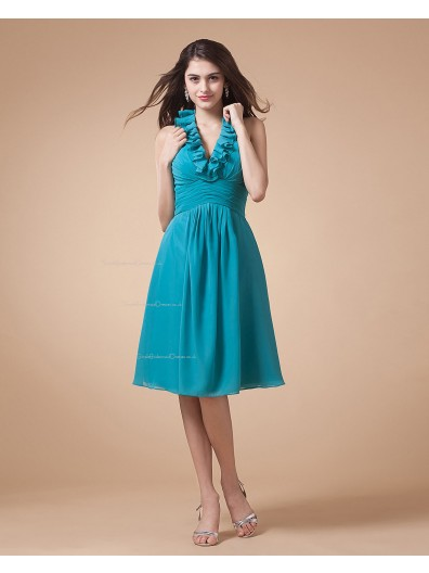 Chiffon Ruffles/Tiered Knee-length A-line Zipper Sleeveless Natural V-neck Blue Bridesmaid Dress