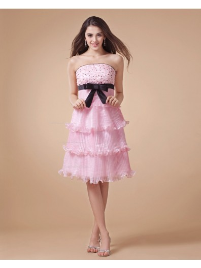 Empire Ruched/Tiered/Beading/Bow/Applique Zipper Organza Strapless Knee-length Sleeveless A-line Pink Bridesmaid Dress