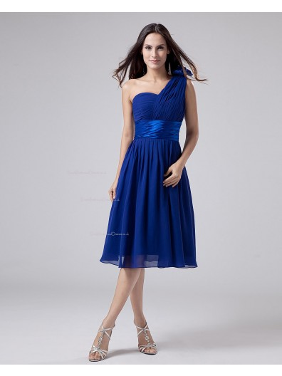 One-Shoulder A-line Chiffon Knee-length Natural Ruffles/Sash/Flowers Zipper Royal-Blue Sleeveless Bridesmaid Dress
