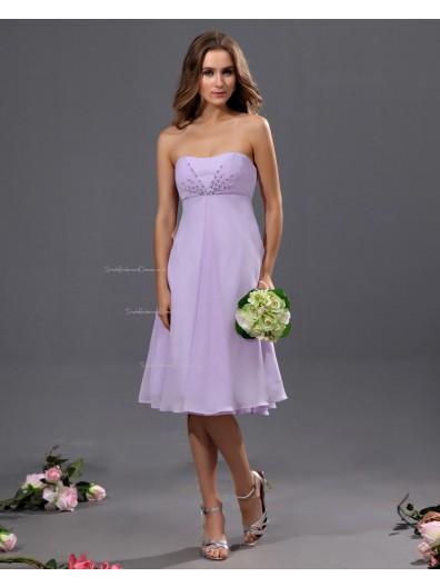 Sweetheart Knee-length Lilac Ruffles/Beading Natural Chiffon Sleeveless A-line Zipper Bridesmaid Dress