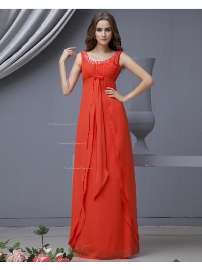 A-line Sleeveless Red Floor-length Chiffon Bateau Zipper Natural Ruffles/Beading/Tiered Bridesmaid Dress