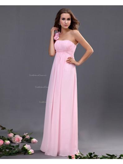 One-Shoulder Ruffles/Flowers/Draped A-line Zipper Chiffon Sleeveless Natural Floor-length Pink Bridesmaid Dress
