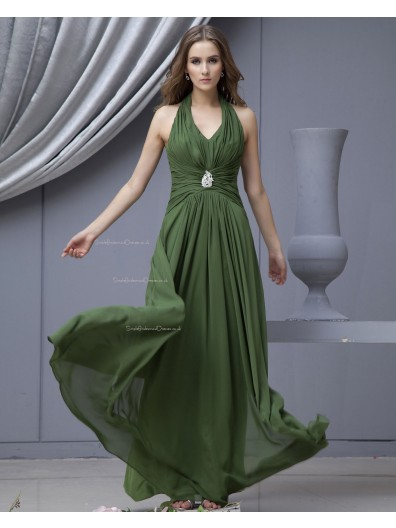 Sleeveless Chiffon Halter Green Natural Zipper Ruffles/Beading/Draped Floor-length A-line Bridesmaid Dress