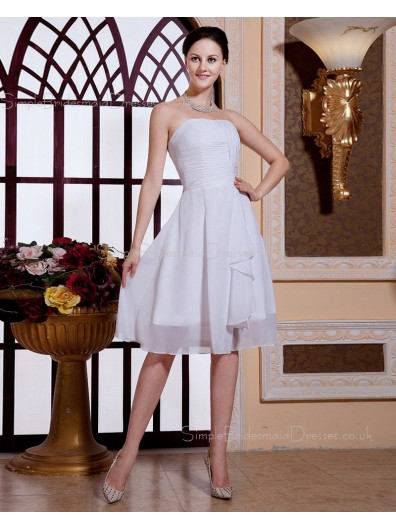 Knee-length A-line Chiffon Strapless Sleeveless Ruffles/Tiered Zipper Ivory Natural Bridesmaid Dress