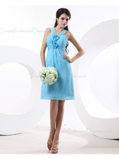 Zipper Chiffon V-neck Knee-length Sleeveless Blue A-line Natural Ruffles/Flowers Bridesmaid Dress