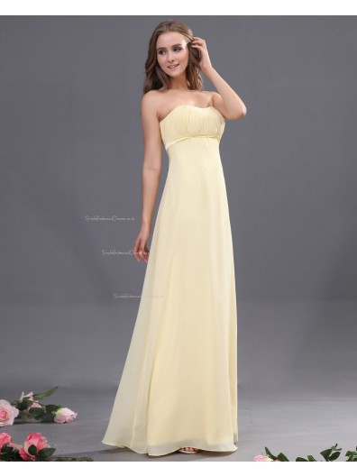 Zipper Ruffles/Draped Sleeveless Sheath Chiffon Daffodil Natural Sweetheart Floor-length Bridesmaid Dress