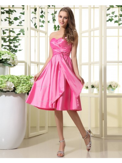 Taffeta Sleeveless Sweetheart Fuchisa Knee-length Natural Ruffles/Sash Zipper A-line Bridesmaid Dress