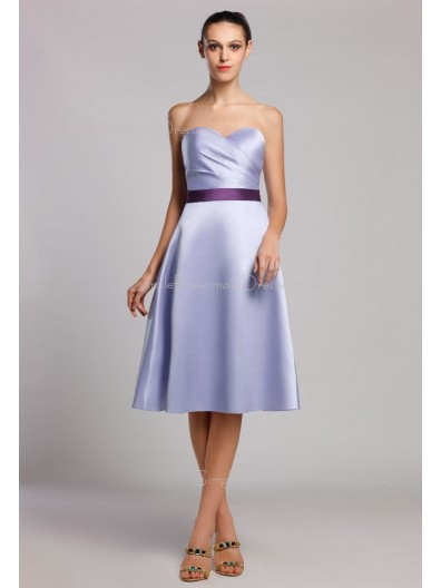 A-line Natural Knee-length Sleeveless Zipper Ruffles/Sash Satin Lavender Sweetheart Bridesmaid Dress