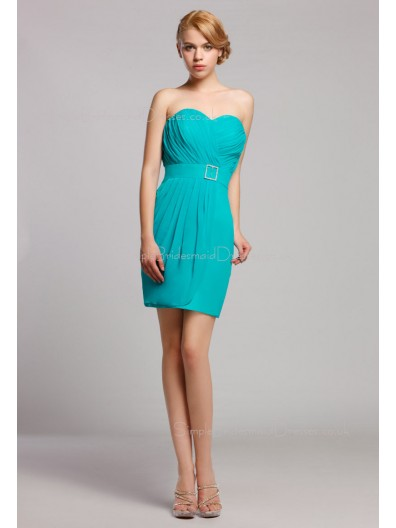 Sleeveless Chiffon Natural Zipper Short-length Mini Ruffles/Sash Sweetheart Blue Bridesmaid Dress
