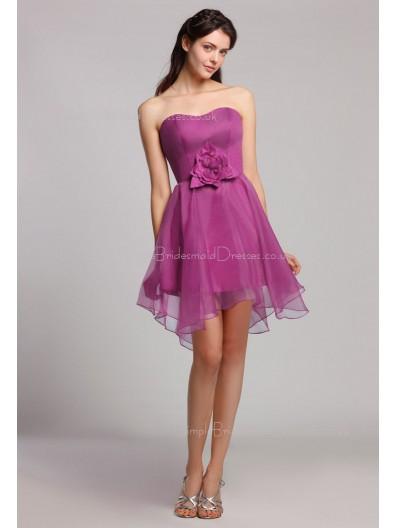 Natural Ruffles/Flowers Organza Mini Grape Sleeveless Short-length Sweetheart Zipper Bridesmaid Dress