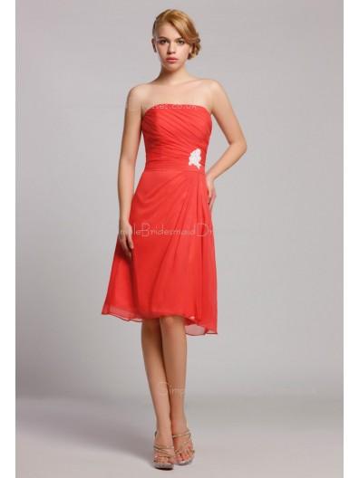 Strapless Knee-length Zipper A-line Red Natural Ruffles/Beading Chiffon Sleeveless Bridesmaid Dress