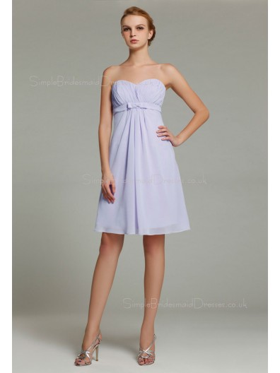 Zipper Lavender A-line Sleeveless Ruffles/Sash Empire Knee-length Chiffon Sweetheart Bridesmaid Dress