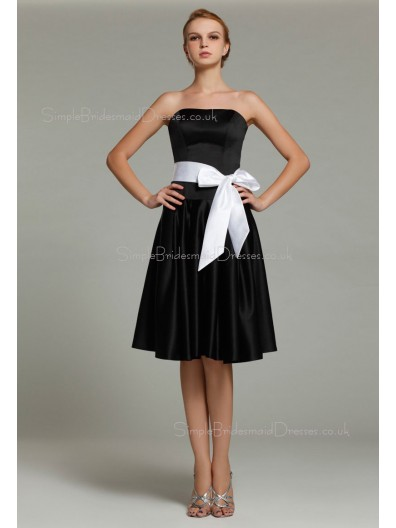 Natural Chiffon Knee-length Ruffles/Sash Sleeveless Strapless Black Zipper A-line Bridesmaid Dress