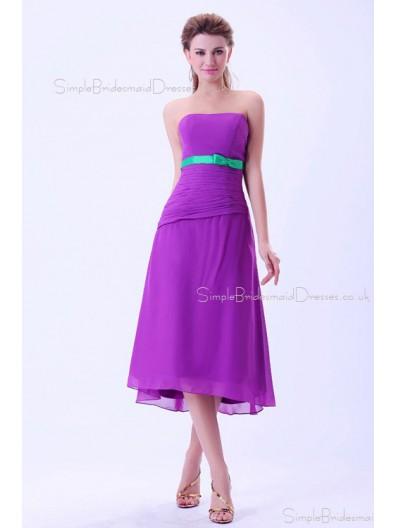 Sleeveless Ruffles/Sash/Bow Strapless Chiffon Zipper Tea-length Natural A-line Regency Bridesmaid Dress