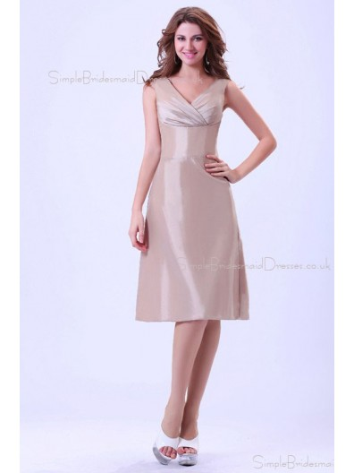 A-line Natural Taffeta Ivory Ruffles Knee-length V-neck Zipper Sleeveless Bridesmaid Dress