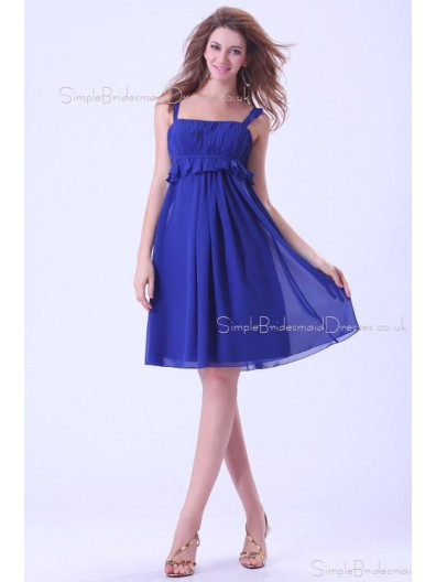 Ruffles/Tiered Zipper Natural A-line Royal-Blue Chiffon Straps Sleeveless Knee-length Bridesmaid Dress