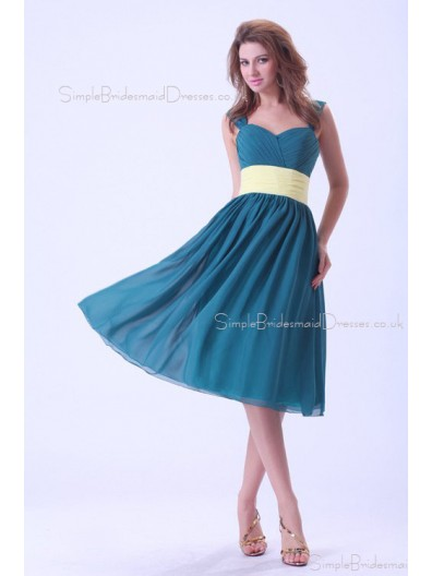 Ocean-Blue Ruffles/Sash Straps Sleeveless Chiffon Natural Zipper A-line Knee-length Bridesmaid Dress
